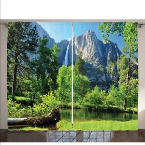Waterfall Mountain Forest Window Drapes